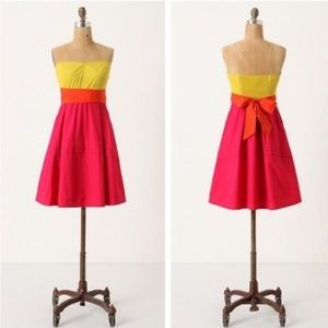 Anthropologie Maeve Parading Hues strapless dress